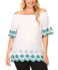 Plus Size 20 Blouse off The Shoulder Bardot Top White & Navy Blue BNWT #B-268