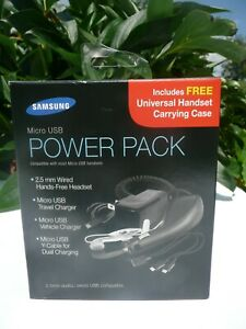 Samsung Micro USB Power Pack, Headset, Travel & Vehicle Charger, Y-Cable & Case