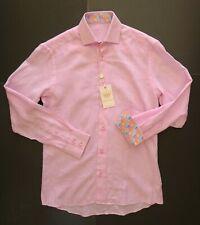 NWT $179 BERTIGO Pink Men's Linen Long Sleeve Shirt Size S EU2