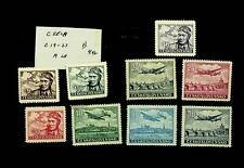CZECH AVIATION AIRCAFT PIONEER SET OF 9 MNH STAMPS #C19-27 CV $4.42