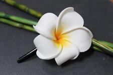 Exotische Haarklemme Haarclip Haarspange Blüte Frangipani weiß 4cm 4,5x4,5cm