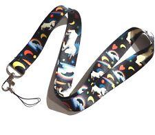 RAINBOWS & UNICORNS LANYARD black neck strap keyring name tag ring clip girls 4I