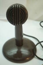 VINTAGE MICROPHONE ASTATIC BULLET HARP C-2644 BASE BROWN 1940s HAM RADIO MIC
