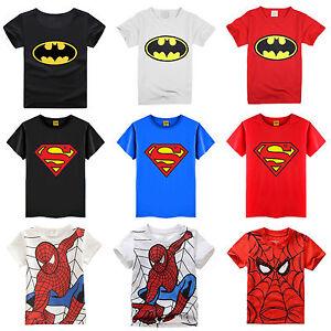Kids Boys Batman Superman Spiderman T-shirt Summer Short Sleeve Superhero Tee