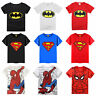 Toddler Kids Boys Batman Superman Spiderman T-shirts Tops Shirts Summer Clothing