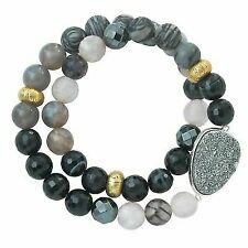 Silpada 'ode to Geode' Natural Agate Hematite and Druzy Stretch Bracelet in