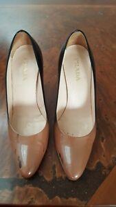 Prada Patent Black/Nude Shoes Aus 7.5