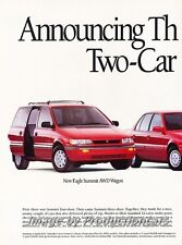 1992 Eagle Summit and AWD Wagon - 2-page Advertisement Print Art Car Ad J755