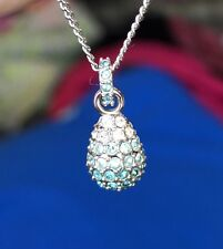 Swarovski Paved Blue Rain Drop Necklace Pendant With original box and bag