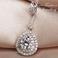 18K White Gold GP Simulated Diamond Studded Exquisite Double Teardrop Necklace