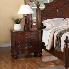 Antique Contemporary Two Drawers Bedroom Nightstand natural Cherry wood Finish