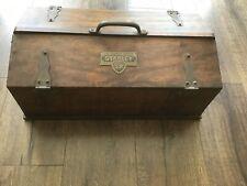 "Antique STANLEY SWEETHEART SLANT LID TOOL BOX 20"" Long Wood Plane Toolbox"