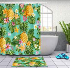 Pineapple Flowers Waterproof Bath Polyester Shower Curtain Liner Water Resistant