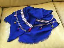 Echarpe Etole Bleu Saphir Et Pompons Multicolores Neuve 10d3bbb0221
