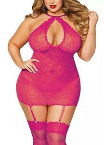 Lingerie Fishnet Mini Dress #590 Hot Pink One Size Queen Plus fits most thru 24W