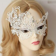 WHITE GOTHIC MALE/FEMALE High Quality Lace Crystal MASQUERADE  PARTY EYE MASK
