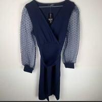 QUIZ Wrap Organza Dobby Sleeve Tie Belt Midi Dress Navy UK10