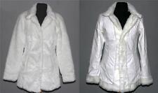 Seduction Outerwear White Faux Fur / Vinyl Reversible Coat Wms SM/Pet EXC NICE