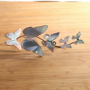 """Bovano of Cheshire Enamel on Copper Wall Sculpture 5 Light Pastel Butterflies 9"""""""