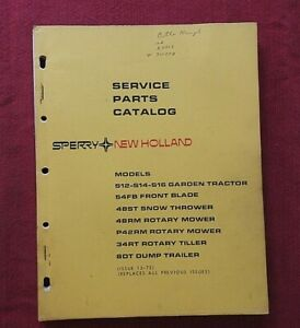 1973 NEW HOLLAND S12 S14 S16 LAWN & GARDEN TRACTOR PARTS CATALOG MANUAL NICE