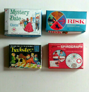 Miniature dollhouse board game  risk mystery date twister spirograph