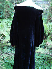 Vintage 30s Black Velvet Coat Cloak ERmine Fur Collar BALLOON SLEEVES S GC