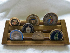 Military Challenge Coin/Chips Wood Display Holder 3 Tier->SMALL<-Walnut Stained