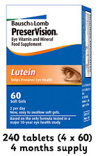 Bausch & Lomb Preservision Lutein 240 tablets (4 x 60) 4 months supply FREEPOST