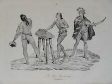 Litho VOYAGE ARAGO COSTUME HAWAI ILES SANDWICH ISLANDS NATIVE 1840 PACIFIQUE b