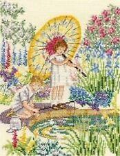 Anticipación Cross Stitch Kit-Dmc-los niños en un jardín