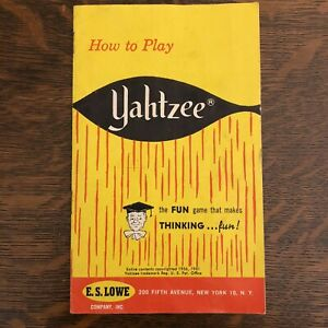 VTG 1967 How To Play Yahtzee Instructions Directions Rules Board Games FREE SHIP