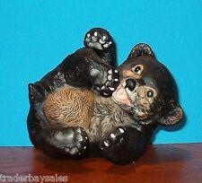 Vintage Playful Black Bear Cub Figurine - 1979 Baby Animals by R J Brown SO CUTE