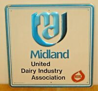 "Vintage Midland United Dairy Industry Association Embossed Metal Sign ""Stout"" D"