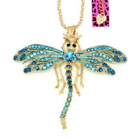 Cute Enamel Crystal Dragonfly Pendant Sweater Chain Betsey Johnson Necklace