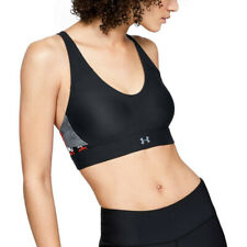Under Armour Womens Vanish Panel Print Bra Black Sports Gym Breathable
