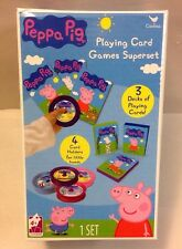 Peppa Pig Deluxe Playing Cards Games Superset 3 Decks Card Holders Cardinal TOY