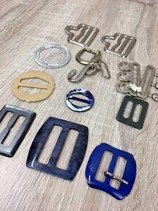 Bundle Job Lot Vintage Belt Buckles Plastic Lucite Metal Mixed Dressmaking