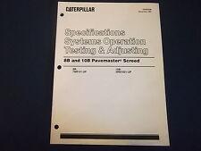 CAT CATERPILLAR 8B 10B SCREED SPEC OPERATION TEST ADJUST BOOK MANUAL KENR5006
