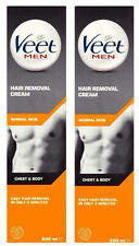 2 x VEET For Men Chest & Body Hair Removal Cream 200ml For Normal Skin - NEW