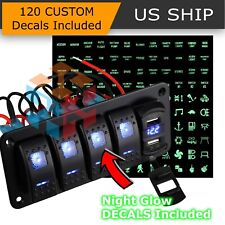 5 Gang Toggle Rocker Switch Panel with USB for Car Boat Marine RV Truck Blue LED