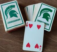 Michigan State University Playing Cards Souvenir Vtg SPARTANS plastic coated
