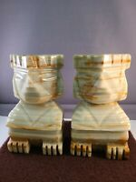 Pair of Exquisite Vintage Green Alabaster Marble Sphinx Book Ends
