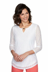 Ruby Rd. Women  Solid Knit Eyelet Top White Size XL Style #51456C3