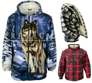 Mens Womens PREMIUM Extra Thick Thermal Jacket Hooded Fur Sherpa Lumber WOLF221