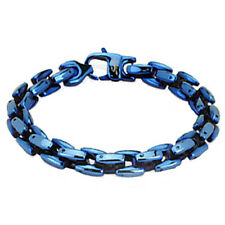 "Stainless Steel Men's Heavy 8.25"" Blue Ion Plated Link Bracelet"