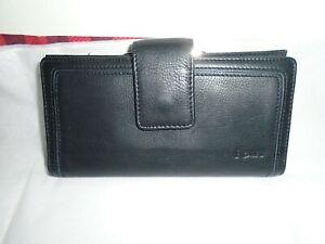 Rolfs Leather Framed Checkbook Bifold Women's Wallet - Blk