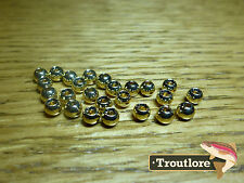 "25 PIECES TUNGSTEN BEAD HEADS GOLD 5/32"" 4mm - NEW FLY TYING MATERIALS"