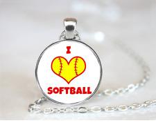 I Heart Softball PENDANT NECKLACE Chain Glass Tibet Silver Jewellery