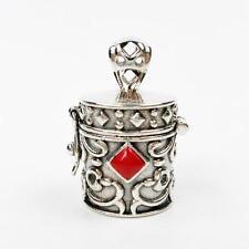 925 Sterling Silver Red Coral Ornate Cylinder Prayer Box Locket Charm Pendant