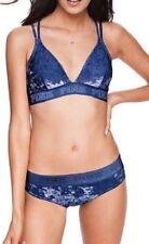 Victoria's Secret Pink Crushed Velvet Bra + Thong Panties Set Blue Ink M NIP